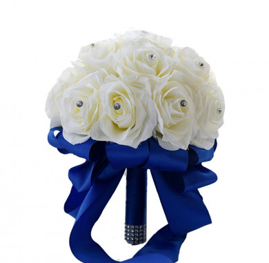 Ivory Artificial Flowers Rose for Bride Bouquet with Royal Blue Ribbon