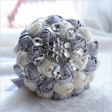 Gray and Ivory Crystal Informal Artificial Flowers Rose for bride holding flowers