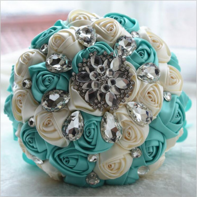 Jade Green and Ivory Crystal Informal Artificial Flowers Rose for bride holding flowers
