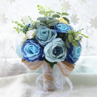 Beautiful Blue Artificial Flowers Rose flowers for bride Bouquet with green leaves