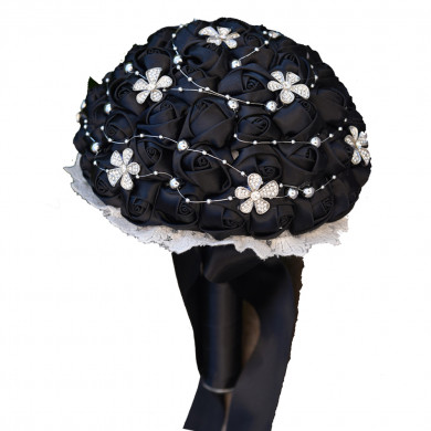 Black Hand Beading Wedding bouquets for bride