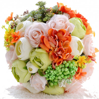 Bright Artificial wedding bouquets for bride and bridesmaids holding flowers