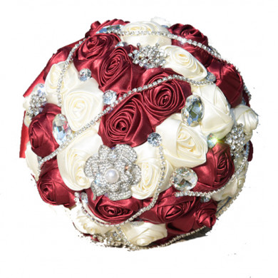 Burgundy and ivory Artificial Flowers Rose for Bride Bouquet with Crystal