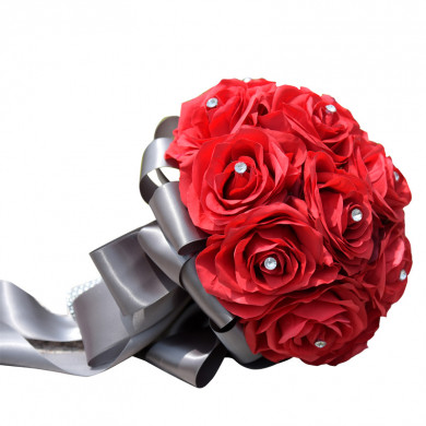 Charcoal Ribbon Red Artificial Flowers Rose for Bride Bouquet with Crystal