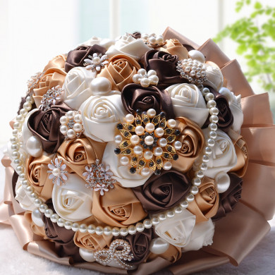 Chocolate and brown Artificial wedding bouquets with Hand beads and Glass Drill