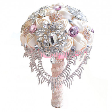Elegant Pink Glass Drill Crystal for Wedding bouquets for bride