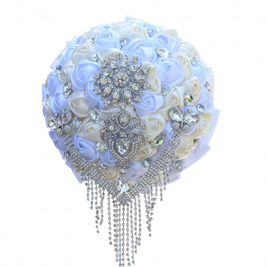 Elegant withe and ivory Hand Beading Glass Drill Hand Beading wedding bouquets