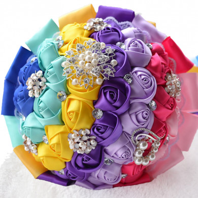 Glamorous Colors flowers for Garden Wedding Party holding flowers with Hand Beading