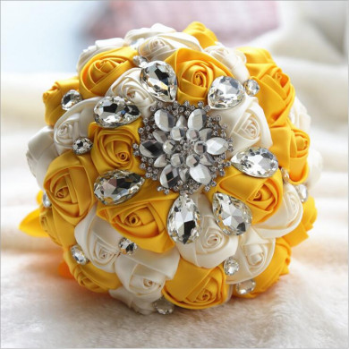 Gold and Ivory Crystal Informal Artificial Flowers Rose for bride holding flowers
