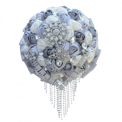 Gorgeous Gray and ivory Artificial Flowers for bride and Bridesmaid Bouquet with Glass drill