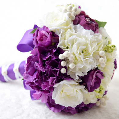 Grape and Ivory Home Garden Wedding Party holding flowers