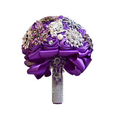 Grape Elegant Wedding bouquets for bride with Pearls Glass Drill and Crystal