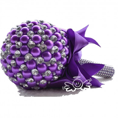 Grape Handmade Beads Wedding bouquets for bride with Glass Drill and Crystal