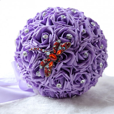 Grape Wedding bouquets for bride and bridesmaids with Dragonfly
