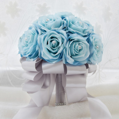 Gray Ribbon Sky Blue Artificial Flowers Rose for Bride Bouquet with Crystal