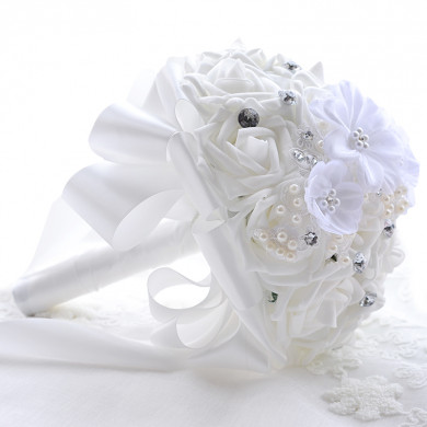 White Artificial Flowers Rose for Bridesmaid Bouquet Handmade Flower with Crystal