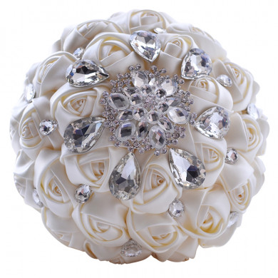 Ivory Artificial Flowers Rose for Bride holding flowers with Glsss Drill