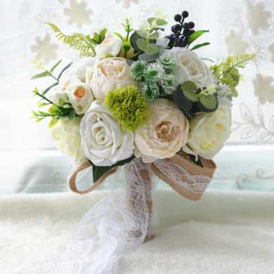 Ivory Artificial Rose Flowers Bridesmaids holding flowers with green leaves