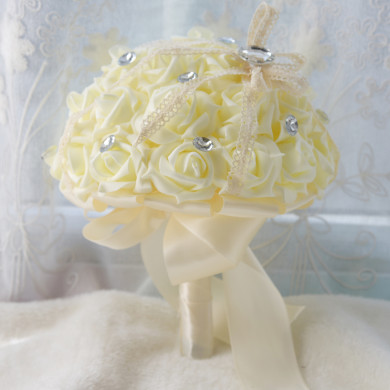 Ivory Simulation Rose Wedding Bouquet flowers with Glass Drill
