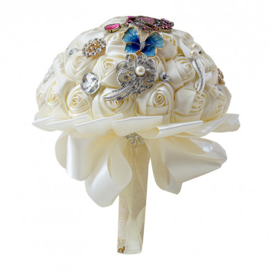 Ivory Home Garden Wedding Party holding flower with Crystal and butterfly