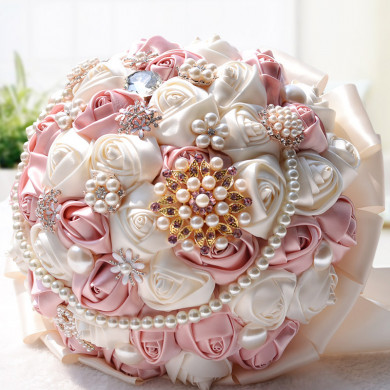 Light Pink and Ivory Artificial wedding bouquets with Glass Drill