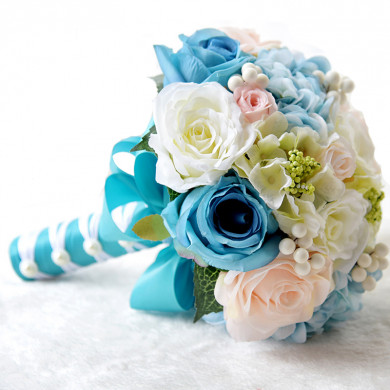 Ocean Blue and Champagne Artificial Flowers Rose for Beach Wedding