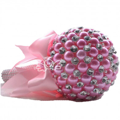 Pink Handmade Beads Wedding bouquets for bride with Glass Drill and Crystal