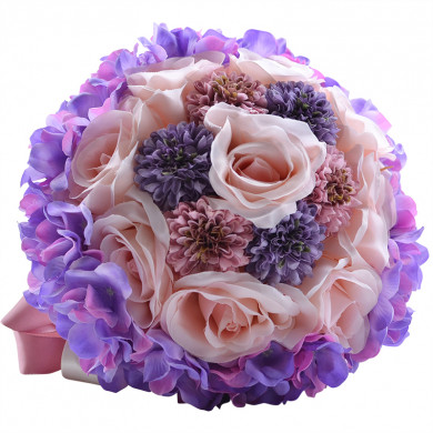 Gorgeous Discount Purple and Pink Wedding bouquets for bride and bridesmaids