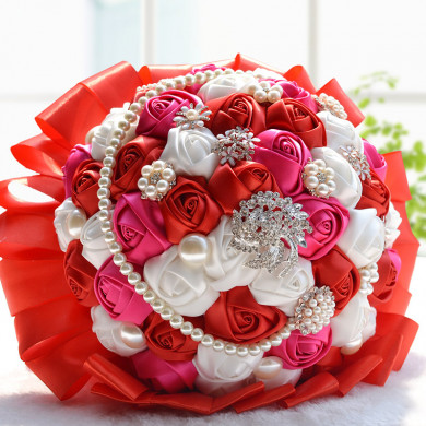 Red,ivory and Rose red Beading beads Artificial wedding bouquets with beads and Glass Drill