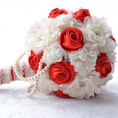 Red and Ivory Gorgeous Artificial wedding bouquets for bride with Bead string