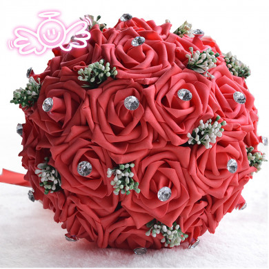 Red Artificial Simulation Rose flowers for bride and bridesmaids with Crystal