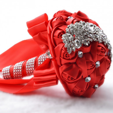 Red Crystal Artificial Flowers Rose for Bridesmaids Bouquet for wedding