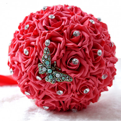Red Wedding bouquets for bride and bridesmaids with Butterfly and Crystal