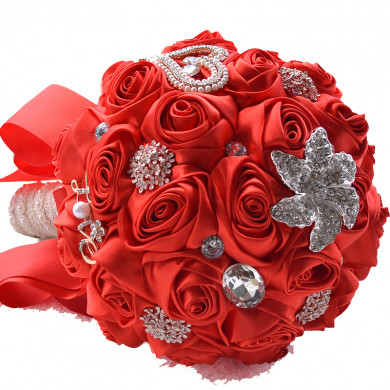 Red lovely Artificial Flowers Rose for Bridesmaid Bouquet with Pearls