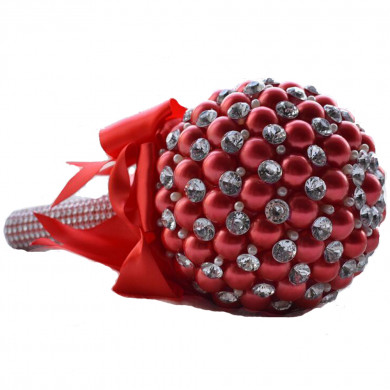 Burgundy Handmade Beads Wedding bouquets for bride with Glass Drill and Crystal