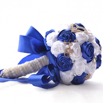 White and Royal Blue wedding bouquets for bride and bridesmaids