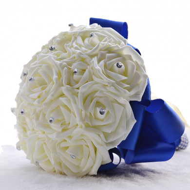Royal Blue Silk wedding bouquets for bride and bridesmaids