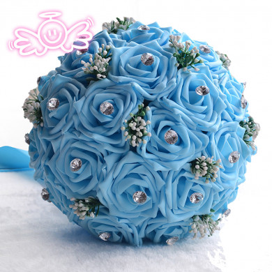 Sky Blue artificial wedding bouquets flowers for Beach Wedding
