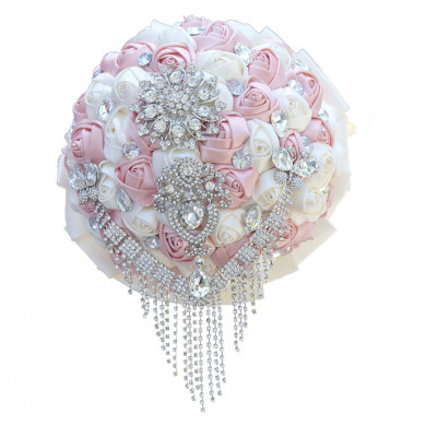 Wedding bouquets for bride for pink and ivory Hand Beading Crystal