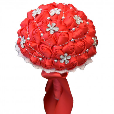 Wedding bouquets for bride red for Bridesmaid Bouquet with Hand Beading Pearls