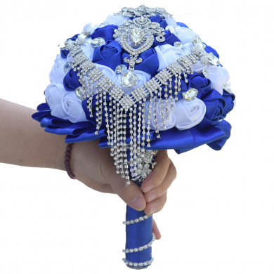 White and Royal Blue Wedding bouquets for Beach wedding