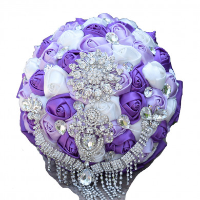 White and Grape Hand Beading Home Garden Party Wedding holding flowers