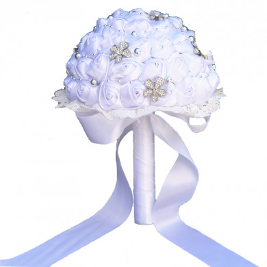 Beautiful White Home Garden Party Wedding holding flowers wite Glass drill