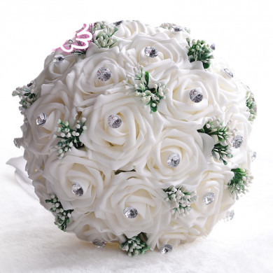 White artificial wedding bouquets for Home Garden Wedding Party with Glass Drill