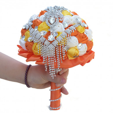 White,orange and yellow Artificial Flowers Rose for Bridesmaid Bouquet with Glass drill