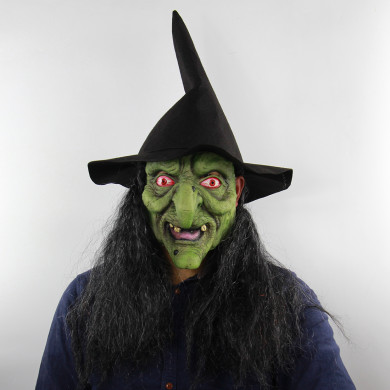 Witch Masks Halloween Green Head Gray Hair Horror Witch Mask Haunted House Room Escape Cosplay