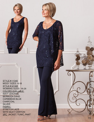 Dark navy lace mother of the bride pant suits Elegant with jacket Formal outfits mps-183