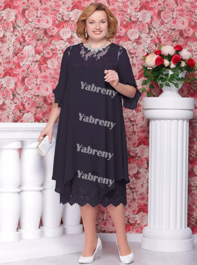Dark Navy Loose mother of the bride Dresses cheap Mid-Calf Women