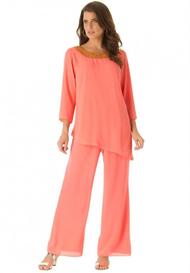 Watermelon red mother of the birde pant suits dresses with three quarter sleeve mps-157