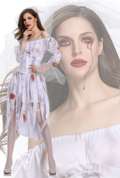 Missley Ghost Bride Costume Halloween Cosplay Scary Cosplay Dress with blood free shipping